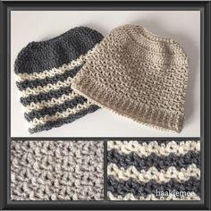 Messy bun beanie crochet pattern - Haak je mee
