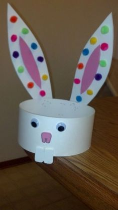 Easter Bunny Hat. Perfect for any fundraising event. Could you have a table where kids make them? #Eastercraftsforkids