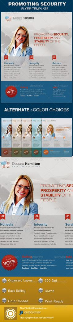 The Promoting Security Political Flyer Template is sold exclusively on graphicriver, it is great for any event, especially designed for political campaigns, conferences and voting events. All text and graphics in the files are editable, color coded and simple to edit. The files also contain five one-click color options, but endless colors are possible. $6.00