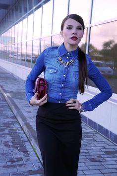 Denim Shirt combined with a pencil skirt - A fashion favorite for a stylish look #wefashion