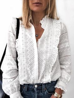Solid Hollow Out Frills Detail Casual Shirt - Solid Hollow Out Frills Detail Casual Shirt Women's Trendy Clothes Online. Extra Off For Firs - Style Casual, Casual Chic, My Style, Casual Styles, Trendy Outfits, Fashion Outfits, Womens Fashion, Fashion Trends, Latest Fashion