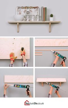 If you need extra storage space for your kitchen gadgets, try this tip! All you need is wood and some DIY skills.Take advantage of empty wall space and make a practical wall shelf. Need more DIY inspiration?  Go visit www.youjustdo.co.uk