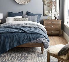 Easy Care Zahara Synthetic Rug - Gray A variegated geo pattern gives this rug its global appeal. With its soft tonal shading, it's an easy mix with other colors and prints in a room. Furniture, Wall Decor Bedroom, Bedroom Design, Bedroom Furniture, Bed, Modern Bedroom, Blue Bedroom, Bedroom Colors, Bedroom
