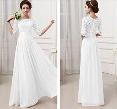 Women's Half Sleeve Lace Chiffon Long Maxi Evening Cocktail Party Wedding Dress