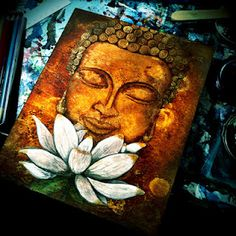 White Violet Art: First Buddha Painting.  Interesting process.
