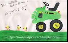 Cute footprint idea!  Use buttons for wheels, and little duckies!