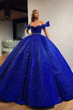 A-line Blue Gorgeous Off the Shoulder Sparkly Modest Formal Long Prom Dresses, Ball gown Cute Prom Dresses, Cheap Evening Dresses, Dream Wedding Dresses, Quince Dresses, Blue Dresses, Blue Ball Gowns, Quinceanera Dresses, The Dress, Dream Dress