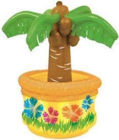 PALM TREE Inflatable Cooler 66cm Tropical Hawaiian Luau Beach Party Decoration