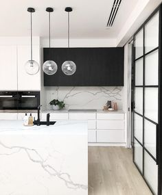 Modern Kitchen Design – Want to refurbish or redo your kitchen? As part of a modern kitchen renovation or remodeling, know that there are a . Condo Kitchen, Home Decor Kitchen, Kitchen Remodel, Kitchen Ideas, Kitchen Island, Modern Kitchen Design, Interior Design Kitchen, White Contemporary Kitchen, Modern Condo