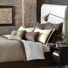 Chocolate and  neutral solid and printed custom bedding. ABC offers high-end bedding from Eastern Accents. Eastern Accents uses the most up-to-date fabrics and trims, with impeccable attention to detail. The overall quality and look are the finest on the market for ready-made bedding.