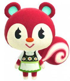 ~Irène~ Animal Crossing Wiki, Animal Crossing Villagers, Animal Crossing Pocket Camp, Leo Birthday, City Folk, Red Squirrel, Classic Sofa, New Leaf, Red Flowers