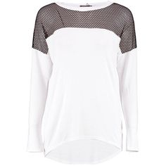 Boohoo Hailey Fishnet Mesh Long Sleeve Jersey T-Shirt   Boohoo ($20) ❤ liked on Polyvore featuring tops, t-shirts, jersey t shirt, white mesh top, mesh t shirt, mesh top and jersey tee
