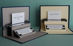 tarjetas de credito credit cards Pop-up card typewriter from PeadenScottDesigns on Etsy Paper Toy, Diy Paper, Paper Crafts, Foam Crafts, Funny Birthday Cards, Birthday Diy, Birthday Presents, Birthday Design, Cute Cards