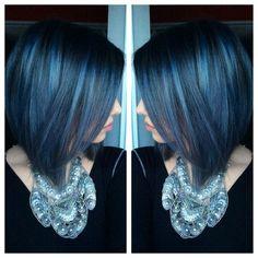 Pravana blue * pravana silver * blue hair * pravana vivids (my guess is blue with black additive and silver) Love Hair, Great Hair, Gorgeous Hair, Hair Color And Cut, Cool Hair Color, Hair Colors, Silver Blue Hair, Mermaid Hair, Mi Long