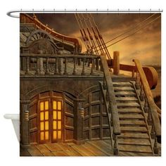 Onboard Pirate Ship Shower Curtain on CafePress.com