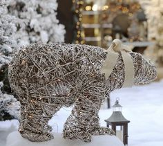 Lit Twig Polar Bear - contemporary - holiday outdoor decorations - Pottery Barn