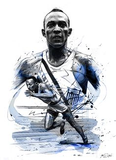 """My painting of Jesse Owens.James Cleveland """"Jesse"""" Owens (September 12, 1913 – March 31, 1980) was an American track and field athlete and four-time Olympic gold medalist.Owens specialized in the sprints and the long jump and was recognized in his lif…"""