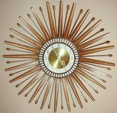 Atomic Eames Era Wood Starburst Sunburst Forestville Clock Vintage Mid Century