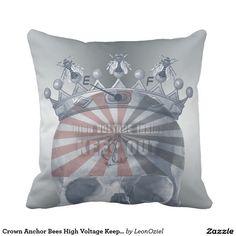 Crown Anchor Bees High Voltage Keep Out Skull Throw Pillow Decor Pillows, Decorative Pillows, Throw Pillows, High Voltage, Repeating Patterns, Bees, Anchor, Skull, Crown