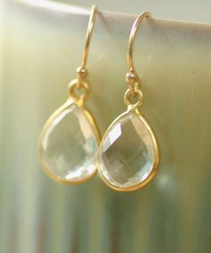 Crystal bridal earrings gold bridal earrings, rock crystal jewelry, gold earrings wedding, bridesmaid earrings gold - Henrietta