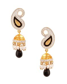 Marvelous Paisley Jhumki, Pearl Drop Earrings