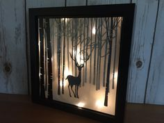 Christmas Decoration, Illuminated Winter Scene Shadow Box, Silent Night Luminary, Deer In Snow Silhouette Picture 9x9, 23 cm x 23 cm  Lose