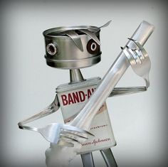 Guitar Man  recycled art sculpture  kitchen robot by leuckit