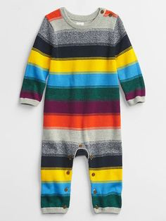 Baby Happy Stripe One-Piece   Gap Factory Striped One Piece, Gap Kids, Crew Neck, Dressing, Stripes, Pullover, Knitting, Long Sleeve, Sleeves