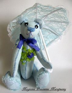 Blue teddy bear embroidered with silk ribbons...