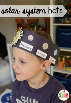 Space Solar System hat-What an awesome outer space craft for kids! Make solar system hats to teach them the order of the planets. Great space activity for kindergarten and first grade. Outer Space Crafts For Kids, Outer Space Activities, Planets Activities, Solar System Activities, Solar System Projects For Kids, Planets Preschool, Solar System Crafts, Camping Activities, Science Classroom