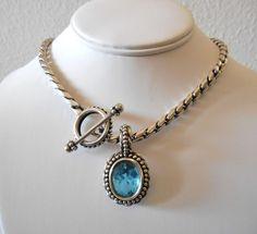 Stephen Dweck Sterling Silver Blue Topaz Pendant Toggle Necklace Gorgeous #StephenDweck #PendantNecklace