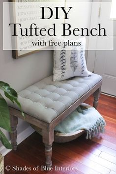 How to make a tufted bench with storage. Made from turned legs, 1x3s, and gray linen lid. Includes tutorial on how to attached buttons for tufted lid.