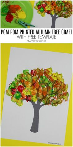 pom pom printed autumn tree craft with template preschool preschool fallcrafts kidscraft kidsactivities kidsart 161637074116296554 Easy Fall Crafts, Fall Crafts For Kids, Craft Projects For Kids, Thanksgiving Crafts, Toddler Crafts, Fun Crafts, Art For Kids, Fall Tree Painting, Painting For Kids