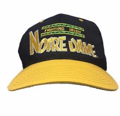 Notre Dame Fighting Irish Vintage 90's Blue Yellow Snapback Hat Cap NCAA #Annco #NotreDameFightingIrish