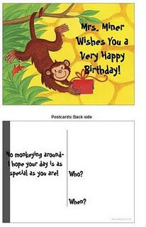 Miner's Kindergarten Monkey Business: I Love VistaPrint's Freebies--Here's Some Ideas for You Happy 1st Birthdays, Very Happy Birthday, Kindergarten Themes, Classroom Themes, 1 Year Birthday, Birthday Celebration, Birthday Postcards, Monkey Business, Teaching Materials