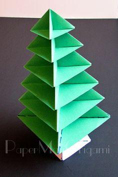 Origami Christmas Tree Tutorial | Origami Christmas Tree, Unique Christmas Trees, Very Merry Christmas, Christmas Countdown, Christmas Tree Decorations, Christmas Crafts, Origami Paper Art, 3d Origami, Paper Crafts