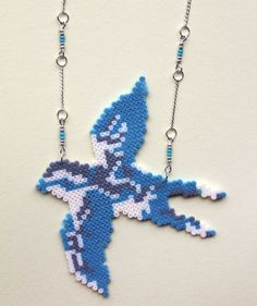 Flying Bird Necklace hama beads by GiveMeColours