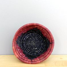 Handwoven Grass Bowl Handwoven Basket Rust and Black by Ubushobozi