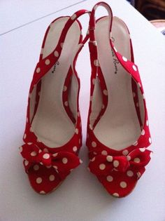 Vintage style peep toe sling back heels  red with by BOBBYPINQUEEN, $25.00