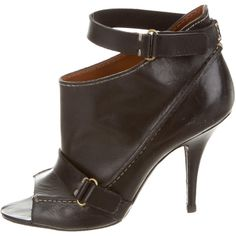 Pre-owned Givenchy Open-Toe Ankle Boots ($325) ❤ liked on Polyvore featuring shoes, boots, ankle booties, black, short leather boots, black ankle boots, black bootie, open toe bootie and black leather booties