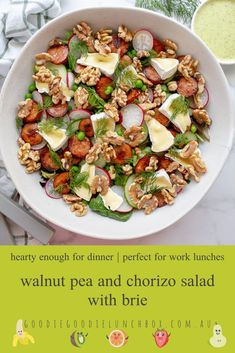 Walnut Pea and Chorizo Salad with Brie - Goodie Goodie Lunchbox - Cherilynn Duffrie Chorizo Salad, Goodie Goodie, Salmon And Broccoli, Roasted Walnuts, Quick Weeknight Meals, Frozen Vegetables, Dinner Salads, Frozen Peas, Main Meals