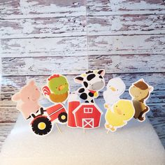 Farm Birthday cupcake toppers, Farm birthday, Animal party, Barnyard birthday, country birthday, cowboy party, cowgirl party, petting zoo