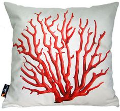 Square Cushion | Merowings Red Coral On Cream via decofinder.com