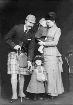 The Duke and Duchess of Connaught with their two eldest children, Princess Margaret and Prince Arthur of Connaught. 1883.
