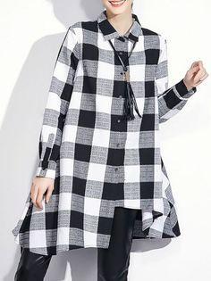 Asymmetric Cotton Plaid Tunic