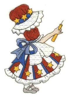 Machine Embroidery Sunbonnet Sue embroidery months of the year (July) Machine Embroidery Projects, Learn Embroidery, Free Machine Embroidery Designs, Applique Patterns, Applique Quilts, Quilt Patterns, Block Patterns, Embroidery Dress, Quilting Ideas