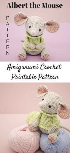 Albert the Mouse amigurumi crochet pattern. Albert the Mouse amigurumi crochet pattern. Crochet Animal Amigurumi, Crochet Mouse, Cute Crochet, Amigurumi Doll, Crochet Crafts, Crochet Baby, Crochet Projects, Crochet Animals, Crochet Motifs
