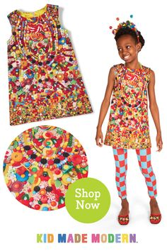"Colorful candy dress handmade in the USA. Perfect for holiday parties. Makes a great gift for kids ages Please visit our store, Family Lagniappe, for a wide selection of personalized ""mom & grandma"" aprons & other personalized gift ideas! African American Dolls, American Girl, Candy Dress, Colorful Candy, Candy Party, Fun Activities For Kids, Toys For Girls, Cute Kids, Gifts For Kids"