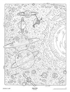 SOLAR SYSTEM Doodle Art Colouring Poster This Was Uploaded By Doodleartposters