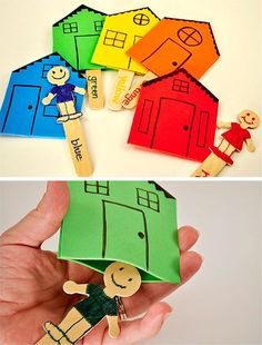 Fun Little People with their own houses I want to try this to play with the kids Preschool Family, Family Crafts, Preschool Crafts, Infant Activities, Educational Activities, Preschool Activities, Language Activities, Teaching Kids, Kids Learning